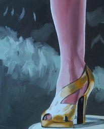 Fuß, Schuhe, Gold, Weiblich
