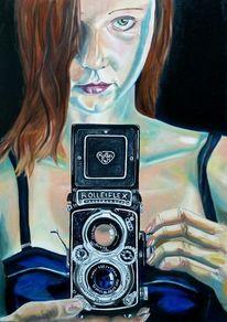 Fotoapparat, Rot, Fotografie, Mund frau
