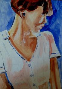 Weiblich, Gesicht, Ölmalerei, Holz