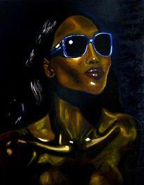 Portrait, Gold, Gesicht, Ölmalerei