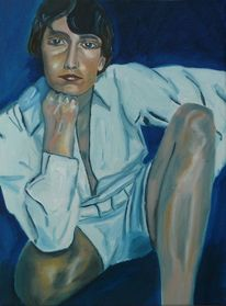 Blick, Frau, Sitzen, Ölmalerei