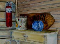 Holz, Dose, Blau, Kanne