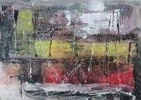 Modern, Rot, Elemente, Abstrakte landschaft
