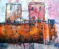 Haus, Italien, Abstrakt, Malerei