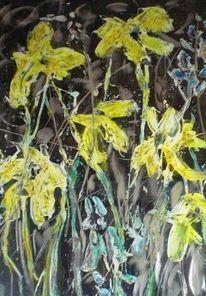 Abstrakt, Blumen, Gelb, Aludruckplatte
