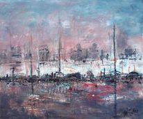 Skyline, Rot, Hafen, Blau
