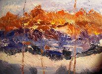 Im sonnenlicht, Berge, Malerei, Abstrakt