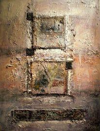 Mischtechnik, Acrylmalerei, Abstrakt, Quadrat