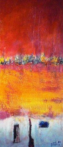 Horizont, Rot, Feuer, Malerei
