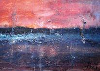 See, Gegenlicht, Dämmerung, Rot