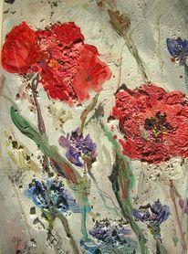 Mohn, Blumen, Rot, Blau