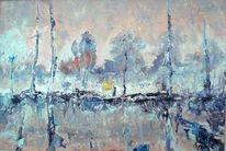 Winter, Dämmerung, Segelschiff, Blau