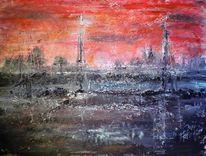 Rot, Dämmerung, Sonnenuntergang, Segelschiff