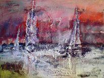 Abstrakt, Meer, Segelschiff, Lava