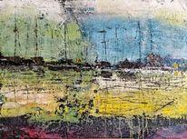 Pflanzen, Abstrakte malerei, Landschaft, Gelb