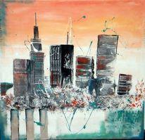 Stadt, Orange, Hochhaus, Skyline