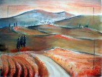 Orange, Landschaft, Toskana, Malerei