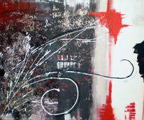 Weiß, Silber, Rot schwarz, Abstrakt