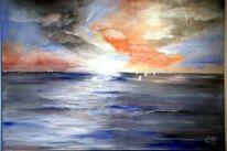 Meer, Horizont, Schiff, Wolken