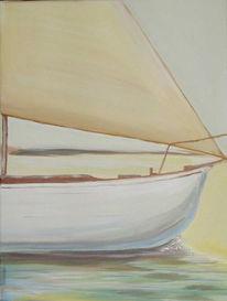 Glanz, Segelboot, Sonnenuntergang, Gelb