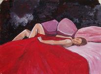 Schlaf, Frau, Rot, Bett