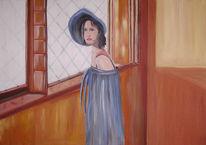 Fenster, Blau, Hut, Frau