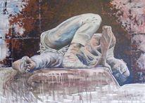 Leineand, Acrylmalerei, Menschen, Zeichnung