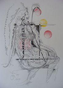 Akt, Zeichnung, Grafik, Tusche