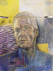 Menschen, Kohlezeichnung, Pastellmalerei, Mann