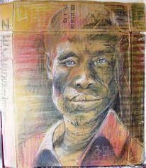 Kohlezeichnung, Menschen, Portrait, Mann