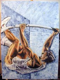 Menschen, Sport, Muskulatur, Acrylmalerei