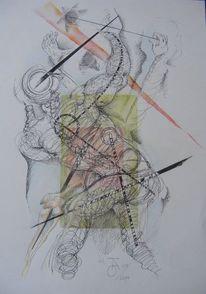 Abstrakt, Tuschmalerei, Zeichnung, Grafik