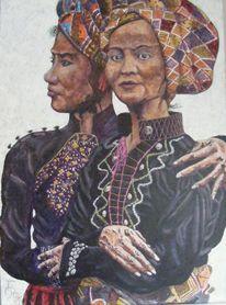 Portrait, Zeichnung, Acrylmalerei, Dame