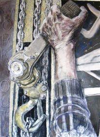 Hand, Kohlezeichnung, Kette, Ölmalerei
