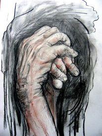 Hände, Zeichnung, Kohlezeichnung, Arbeiter