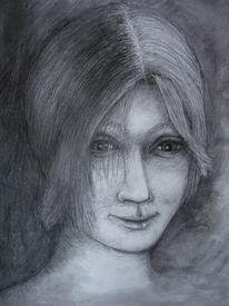 Portrait, Junge, Skizze, Grafit