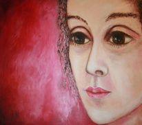 Rot, Trügerisch, Portrait, Riesenaugen