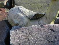 Mauer, Kopf, Auftauchen, Stein