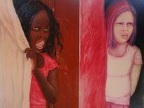 Mädchen, Vorhang, Rosa, Mauer