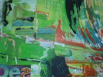 Zeitungsdruck, Acrylmalerei, Collage, Malerei