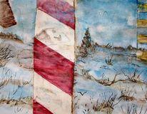 Schild, Aquarellmalerei, Landschaft, Schnee