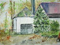 Herbstlaub, Aquarellmalerei, Verlassen, Grebenhain