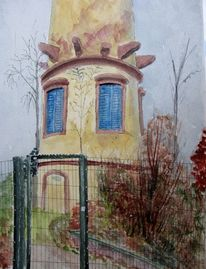 Turm, Herbst, Bad nauheim, Zaun