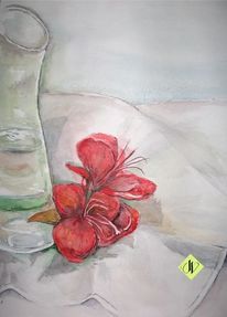Rot, Blüte, Vase, Glas