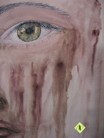 Blick, Aquarellmalerei, Augen, Trauer