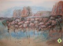 Klippe, Berge, Pastellmalerei, Stein