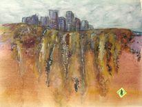 Erdfarben, Aquarellmalerei, Landschaft, Stadt