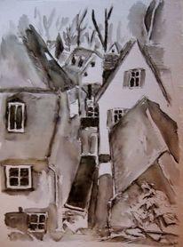 Häuser, Dach, Tuschmalerei, Bad homburg