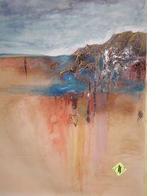 Aquarellmalerei, Berge, Klima, Landschaft