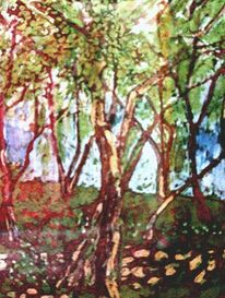 Baum, Grün, Batik, Herbst